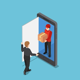 Flat 3d isometric delivery man come out from smart phone and delivering package. online shopping and delivery concept.