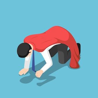 평평한 3d 아이소메트릭 우울한 슈퍼 사업가가 바닥에 무릎을 꿇고 있습니다. 사업 실패와 파산 개념입니다.