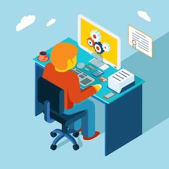 Flat 3d isometric design. man sits in the workplace and working at a computer.