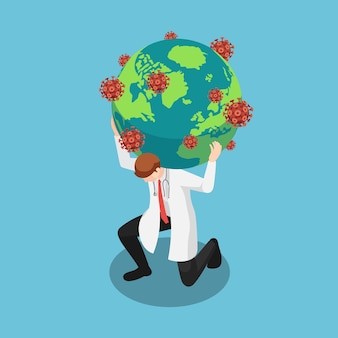 Flat 3d isometric doctor carrying the world with covid19 virus or coronavirus