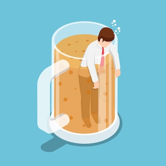 Flat 3d isometric drunk businessman in beer mug. party and relax concept.