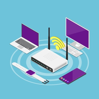 Wi-fi 라우터에 연결된 평면 3d 아이소메트릭 전자 장치. wi-fi 연결 및 무선 기술 개념입니다.