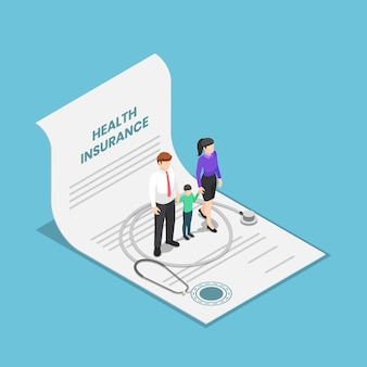 Flat 3d isometric family with kid and stethoscope on the health insurance contract document. life and healthcare medical insurance business concept.