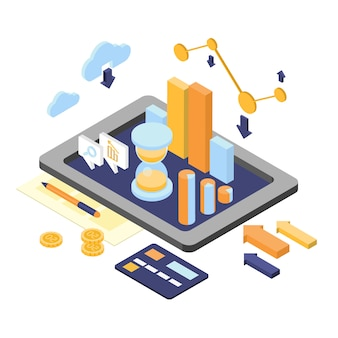 Flat 3d isometric finance analytics elements