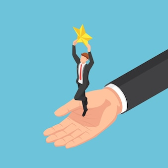 ビジネスマンが星をキャッチするのに役立つフラットな3dアイソメトリック巨大な手。ビジネスチームと成功のコンセプト。