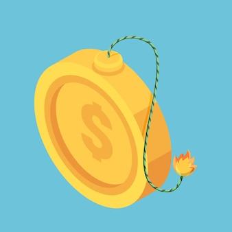 불타는 퓨즈와 평면 3d 아이소메트릭 황금 달러 동전. 금융 및 경제 위기 개념입니다.