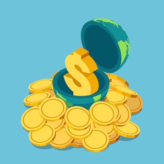 동전 더미에 세계 내부 평면 3d 아이소메트릭 황금 달러 기호. 세계 경제와 금융 개념입니다.