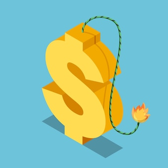 Flat 3d isometric golden dollar symbol with burning fuse. financial and economic crisis concept.
