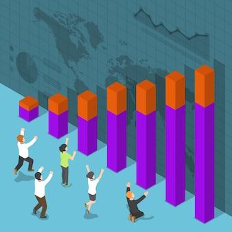 Плоские 3d изометрические счастливые деловые люди празднуют успех перед графиком роста, концепция успеха в бизнесе