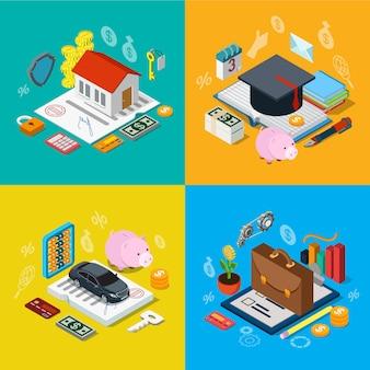 Insegnamento ipotecario casa isometrica 3d piatto