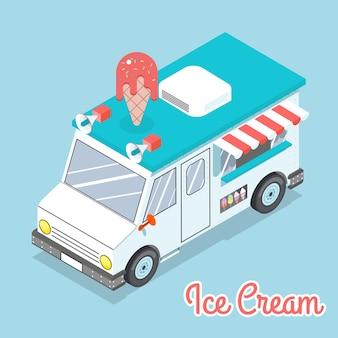 평면 3d 아이소 메트릭 아이스크림 트럭. 텍스트가있는 공간. 맛있고 디저트와 추위.
