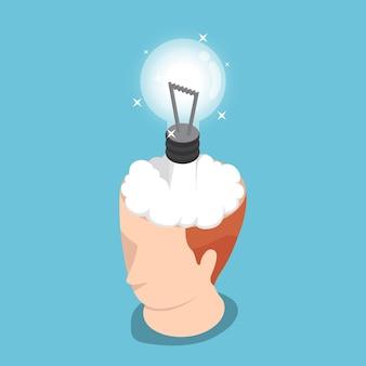 평평한 3d 아이소메트릭 아이디어 로켓은 사업가 머리에서 발사됩니다. 아이디어 폭발 개념입니다.