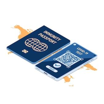 Плоский 3d изометрический паспорт иммунитета и смартфон с цифровым сертификатом о вакцинации от covid-19. паспорт иммунитета и концепция сертификации вакцинации.