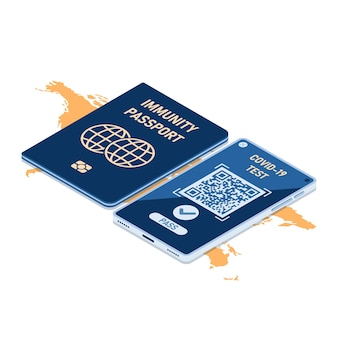Flat 3d isometric immunity passport and smartphone with digital vaccination certificate for covid-19. immunity passport and vaccination certification concept.