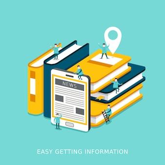 책과 태블릿이 함께 쌓여 있는 정보 개념을 쉽게 얻을 수 있는 평면 3d 아이소메트릭 인포그래픽
