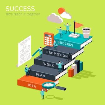 Плоская 3d изометрическая инфографика для концепции достижения успеха с бизнесменом, поднимающимся по книжной лестнице, чтобы достичь своей цели