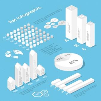 Плоские 3d изометрические инфографики для ваших бизнес-презентаций.