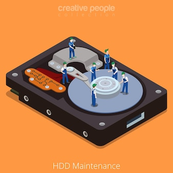 Flat 3d isometric isometry style technology computer hardware concept illustration