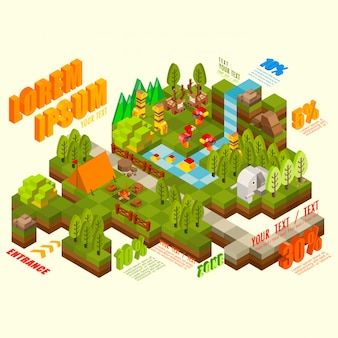 Flat 3d isometric jungle with wild animal, infographic elements collection, illustration