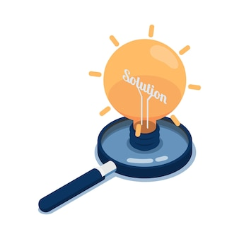 Flat 3d isometric light bulb of idea with word solution inside over magnifying glass. business solution and idea concept.