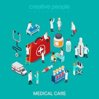 Piatto 3d isometrico servizi medici medico infermiera concetto di kit di primo soccorso