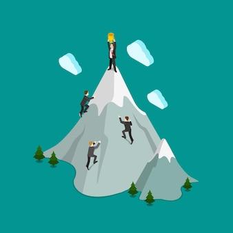 평면 3d 아이소 메트릭 산악 등반 최고 우승자 트로피 개념