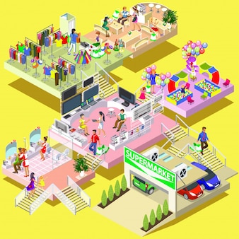 Flat 3d isometric multistory shopping mall concept vector. Store, parking.