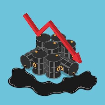 떨어지는 그래프가 있는 평평한 3d 아이소메트릭 오일 배럴. 유가 하락과 석유 산업 개념.