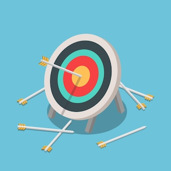 Flat 3d isometric one of many arrow hitting on the center of target