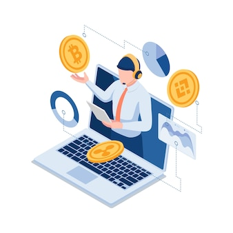 Bitcoin 및 기타 cryptocurrency를 설명하는 평면 3d 아이소메트릭 온라인 투자 전문가. 금융 투자 전문가 및 암호 화폐 개념.