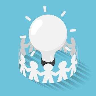 Плоские 3d изометрические бумажные люди в окружении идеи лампочки. бизнес-идея и концепция единства