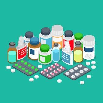 Flat 3d isometric pharmaceutics pharmacy drug store