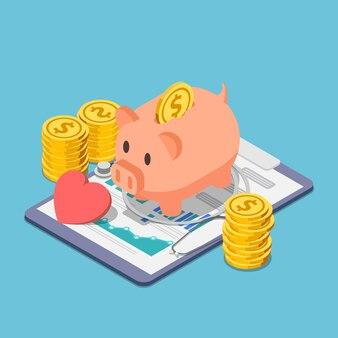Плоские 3d изометрические копилку и стетоскоп с кучей монет. концепция финансового здоровья и медицинского страхования.