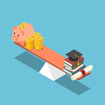 Flat 3d isometric piggy bank and dollar coin equal to graduation cap and diploma on the scale. investment in education concept.