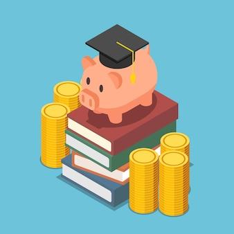책 더미에 졸업 모자가 있는 평평한 3d 아이소메트릭 돼지 저금통. 교육 개념에 대한 투자.