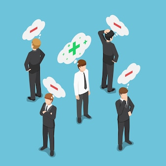 ネガティブシンキングの人々の群衆の中のフラット3dアイソメトリックポジティブシンキングビジネスマン。ポジティブなコンセプトを考えてください。
