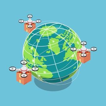 플랫 3d 아이소메트릭 쿼드콥터 또는 드론이 전 세계 배송을 위해 패키지를 날고 운반합니다. 드론 배송 및 배송 혁신 개념.