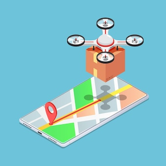 Плоский 3d изометрический квадрокоптер или дрон на карте, несущей посылку до доставки