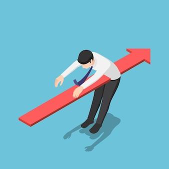 ビジネスマンの体を貫通するフラットな3dアイソメトリック赤い矢印。ビジネス問題と金融危機の概念。