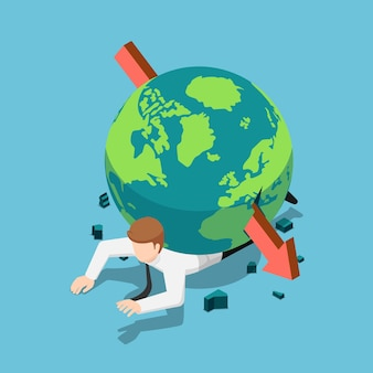ビジネスマンの背中に世界を貫く平らな3dアイソメトリック赤い矢印。世界経済危機の概念。