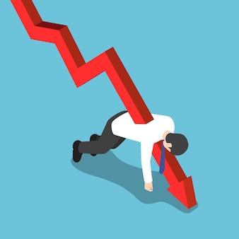 ビジネスマンを刺したフラットな3dアイソメトリック赤い落下グラフ。破産と財務の概念。