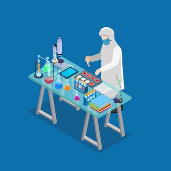Flat 3d isometric science lab experiment research pharmaceutics chemical concept web infographics