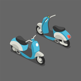 Flat 3d isometric scooter or motorcycle.