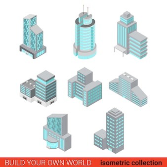 비즈니스 사무실 센터 블록 건물 유리 마천루의 평면 3d 아이소 메트릭 세트