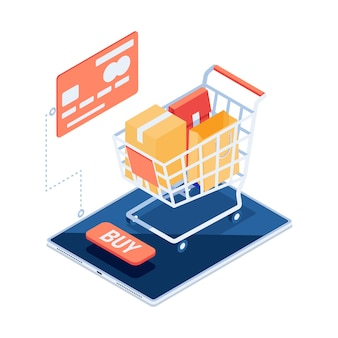 스마트폰에 가방 플랫 3d 아이소메트릭 쇼핑 카트. 온라인 쇼핑 개념입니다.