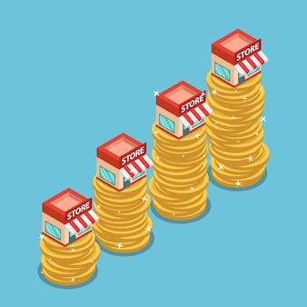 Flat 3d isometric shopping store on the top of growing coin stack. franchise business marketing concept.
