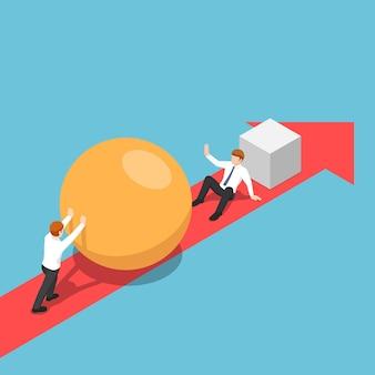 Плоский 3d изометрический умный бизнесмен со сферой идет быстрее, чем его соперник, и сможет его устранить. концепция бизнес-конкуренции.