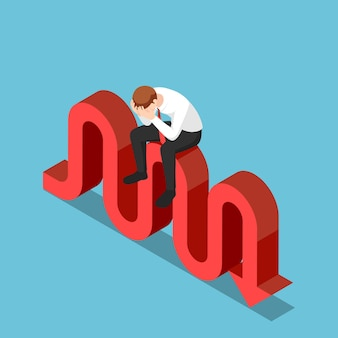 Flat 3d isometric stressed businessman sitting on stock market fluctuation arrow