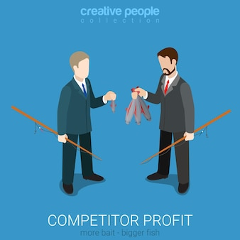 Flat 3d isometric style competitor profit comparison concept