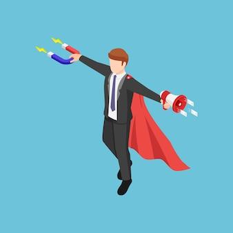 Плоские 3d изометрические супер бизнесмен, держащий магнит и мегафон для продвижения своего бизнеса. концепция входящего и исходящего маркетинга.